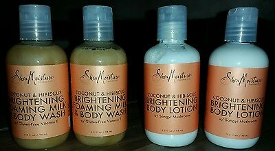 4 pack(2 each) 3.2 oz Shea Moisture Coconut & Hibiscus Body Wash and Body
