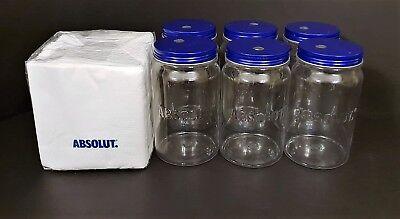 6x Absolut Vodka Jar Longdrink Cocktail Glas Gläser mit Deckel+200 Servietten
