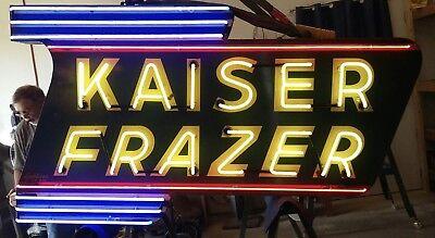 KAISER FRAZER DEALER MARQUEE NEON EFFECT PRINTED BANNER SIGN GARAGE ART 4/' X 3/'