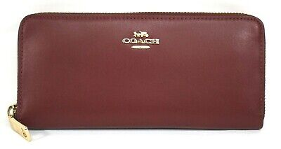 NWT Coach 73738B Smooth Leather Slim Accordion Wallet in Deep Red MSRP$150