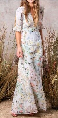 Hope & Ivy/ Asos Floral Maxi Dress With Cut Out Back Detail Size 18