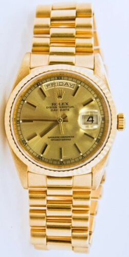 Rolex Day-date 18238 Gold Presidential Band Champagne Stick Dial & Fluted Bezel