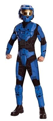 Halo Blue Spartan Military Soldier Fancy Dress Up Halloween Deluxe Adult - Halo Soldier Costume
