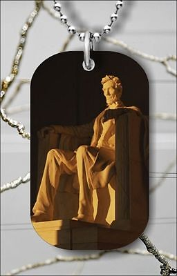 """ABRAHAM LINCOLN MEMORIAL DOG TAG NECKLACE 30"""" FREE CHAIN -dfv6Z"""