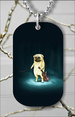 DOG PUG VIOLIN PLAYER UNDER SPOT LIGHT DOG TAG PENDANT FREE CHAIN -knm8Z Chain Players Light Pendant