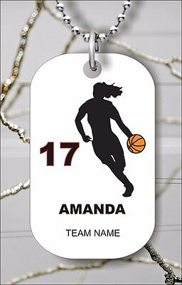 PERSONALIZED BASKETBALL GIRL PLAYER CUSTOM DOG TAG PENDANT NECKLACE - ftg6Z