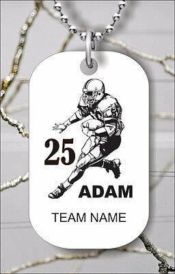 Personalized Football Necklaces (PERSONALIZED FOOTBALL PLAYER CUSTOM DOG TAG PENDANT NECKLACE -)