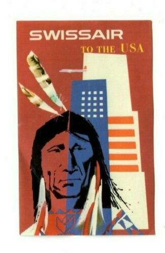 Vintage SWISSAIR TO THE USA Airline Baggage Ad Art Label Strong Native Chief