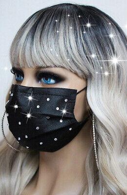 OPMaske Mund Nasen Schutz Maske Glitzer Strass schwarz Vliesmaske Mundschutz