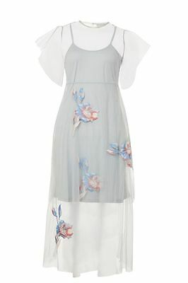Hope & Ivy Mesh Tiered Embroidered Dress Size UK 10 rrp £75 LF078 AA 19