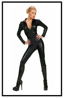 Damen Kostüm Geheimagentin Jumpsuit Catwoman Glanz Overall Bodysuit schwarz, K