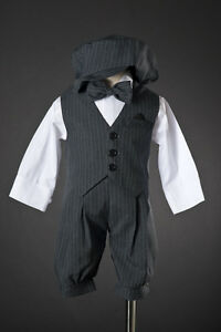 Infant-Toddler-Boys-Knicker-Set-Dark-Grey-Pinstriped-w-Vest-Hat