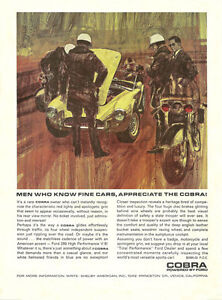 Vintage & Rare 1964 Shelby American Cobra Ad Better Than Original Print