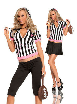 Referee Costumes (Sideline Sweetheart Costume Referee Sports Capris Skirt Whistle Football)