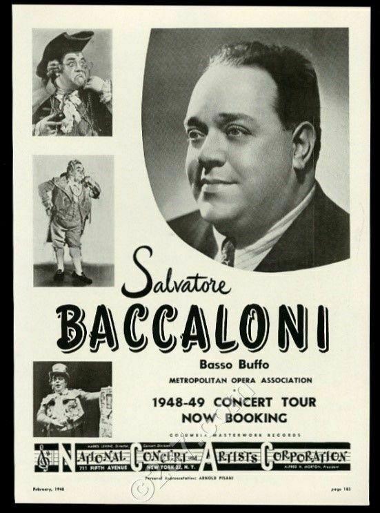 1948 Salvatore Baccaloni photo opera recital tour booking trade print ad