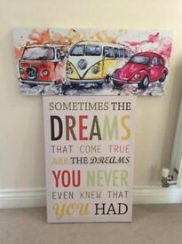2x canvases quote and camper van