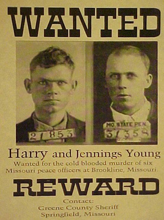 Young Brothers Greene County Missouri Massacre Wanted Poster Jennings Harry