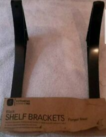 Black heavy-duty shelf brackets forged Steel