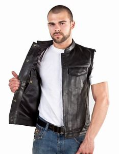 Men's Concealed Carry Leather Motorcycle Biker Club Vest