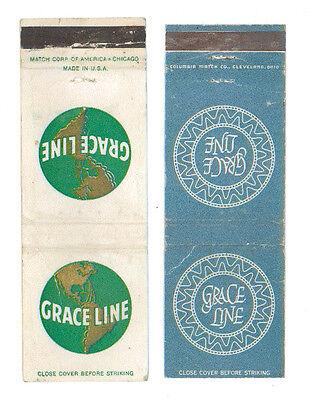 GRACE LINE 2 MATCHBOX LABEL ANNI '50 MARINA CARIBBEAN SOUTH AMERICA CRUISE