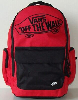 New Men's Vans Off The Wall Underhill 2 Red Backpack Laptop Sleeve School Bag