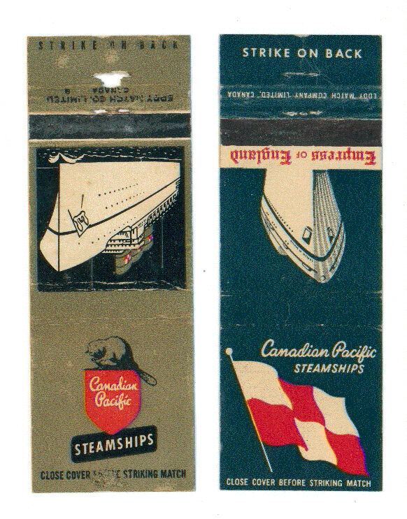 CANADIAN PACIFIC STEAMSHIPS 2 MATCHBOX LABEL ANNI