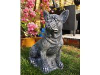 French bulldog concrete garden ornament