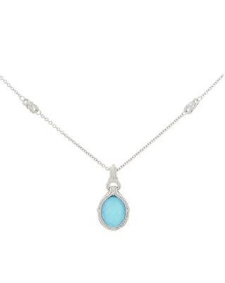 Judith Ripka Turquoise Doublet Necklace with Enhancer NEW!