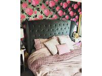 King size bed frame upholstered chenille