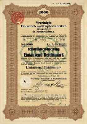 Papierfabriken Niederschlema 1927 Dresden Wittenberge 1000 RM Rheindürkheim