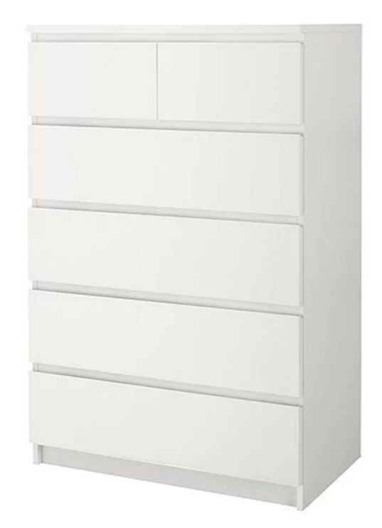 Ikea Malm Chest Of 6 Draws White 79 Rrp Used Good Condition