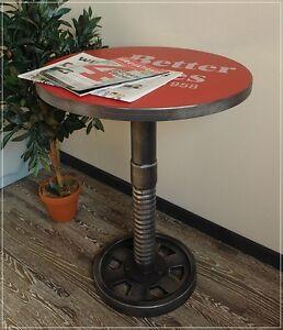 Tisch ATELIER LOFT Bistrotisch Metall-Optik Industriedesign rot UsedLook Ø60 NEU