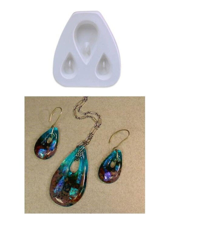 Little Fritters HOLEY TEARDROPS TRIO 75 Pendant Earring Set Glass Casting Mold