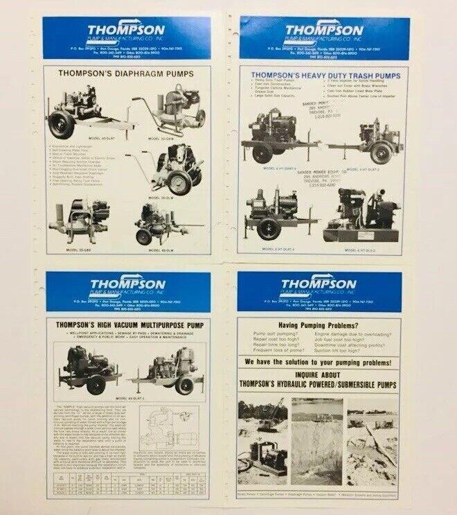 Vintage Thompson Pump Manufacturing Company Inc Equipment Brochure Illustrated