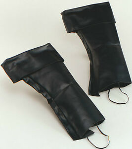 PIRATE BOOT TOPS COVERS - LEATHER LOOK - BLACK UNISEX ONE SIZE - JACK SPARROW