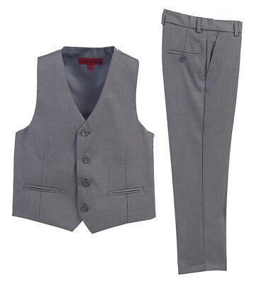 - Boys Formal Wear 2 Piece Vest Pants Set Gray Fashion Wedding Party Kids 5 7 8 12