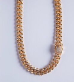 Gold plated Cuban chain with cz Diamond