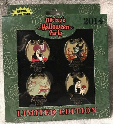 DLR Mickey's Halloween Party 2014 Villains LE 1000 Disney Pin Set