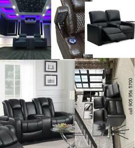2-Seat Recliner Home Theatre Seating - Power Manuel Leather Recliner Sofa Chairs Black