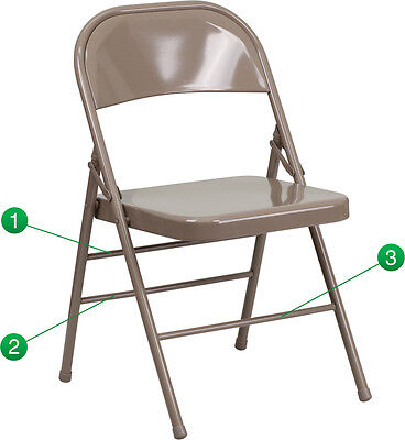 100 Pack Metal Folding Chair Beige Color Triple Braced And Double Hinged