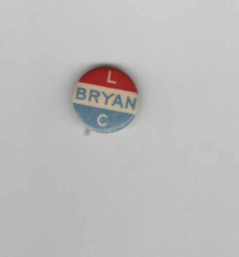 William Jennings Bryan political pin back, Hake 431, scarce, cat. $35.00, 5/8 in