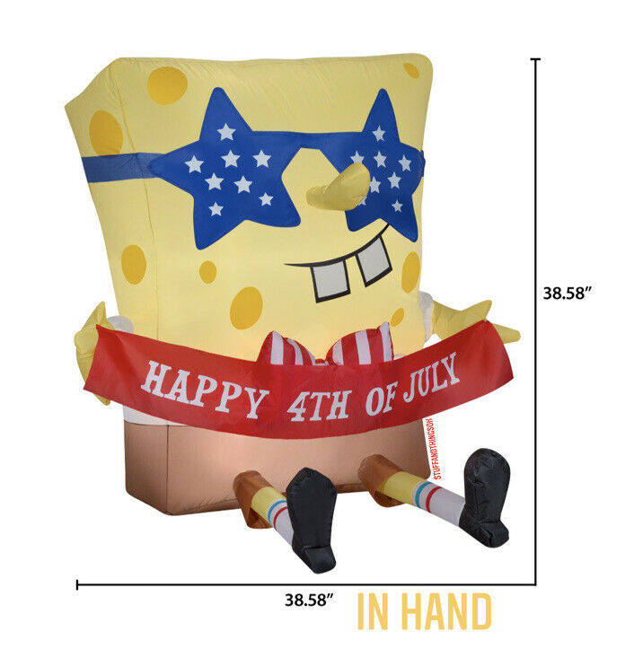 Gemmy SpongeBob Squarepants 4th Of July Independence Day Airblown Inflatable NEW