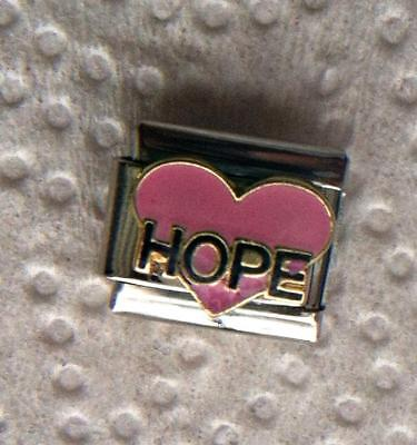 """ HOPE ON PINK HEART"" ON SILVER-ITALIAN 9MM CHARM- FAMILY, ILLNESS, WELL BEING"