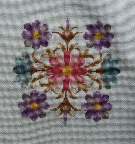 Pink Purple Daisies Flowers Cross Stitch Completed Finished