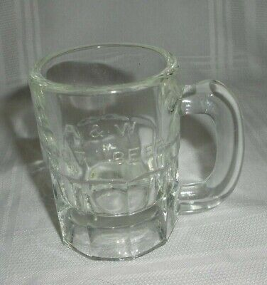 Vtg Early A & W Root Beer Child's Mug Heavy Glass Stein 1920's 3 1/4""