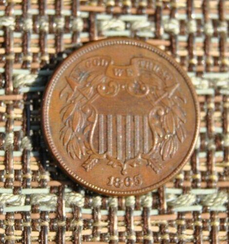 1865 2 cent piece US Coin Civil War Era AU