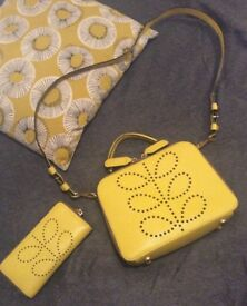 *ORLA KIELY* YELLOW MINI BAY BAG & PURSE SET / BOTH IN EXCELLENT CONDITION