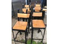 heavy duty industrial stool with wooden seat black gold
