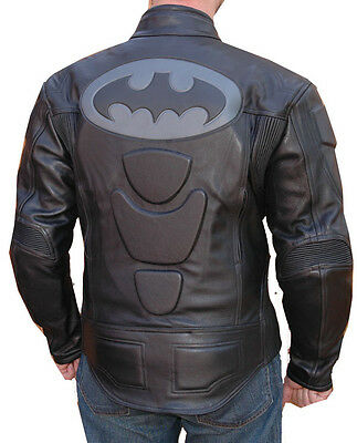 BATMAN DARK KNIGHT MOTORCYCLE LEATHER BRUCE WAYNE RACING JACKET BLACK BIKER GEAR