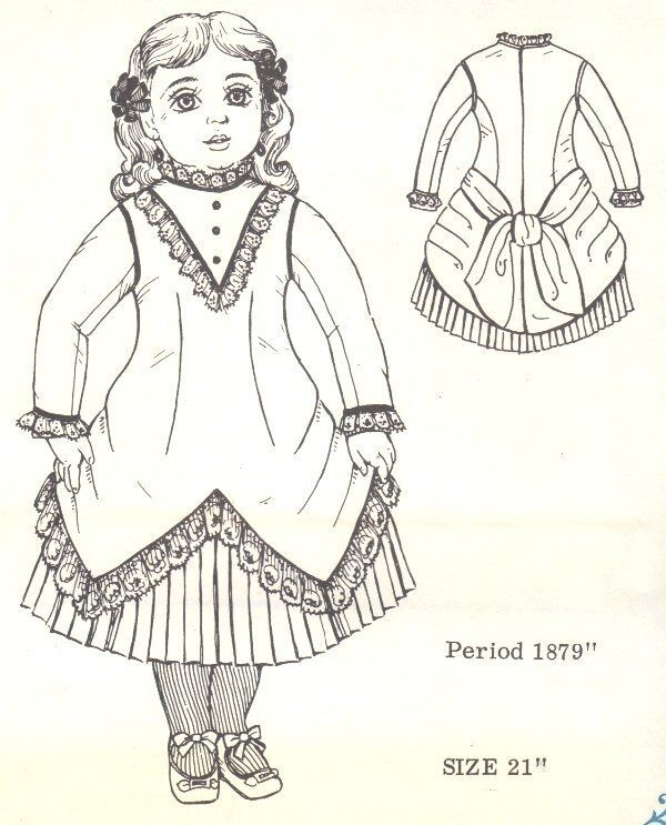 DOLL DRESS PATTERN Victorian Period German French ANTIQUE / vintage look #5020